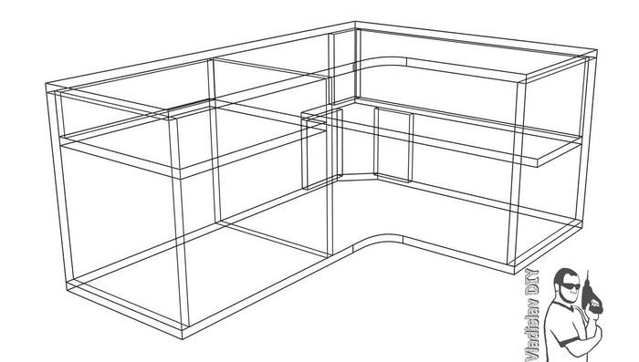 чертеж полки настенной под принтер