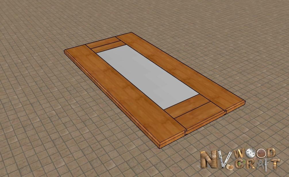 Эскиз столешницы с зеркальной вставкой