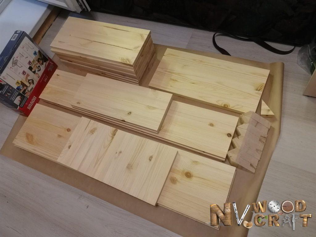 Набор деталей ящика в большой комод из дерева
