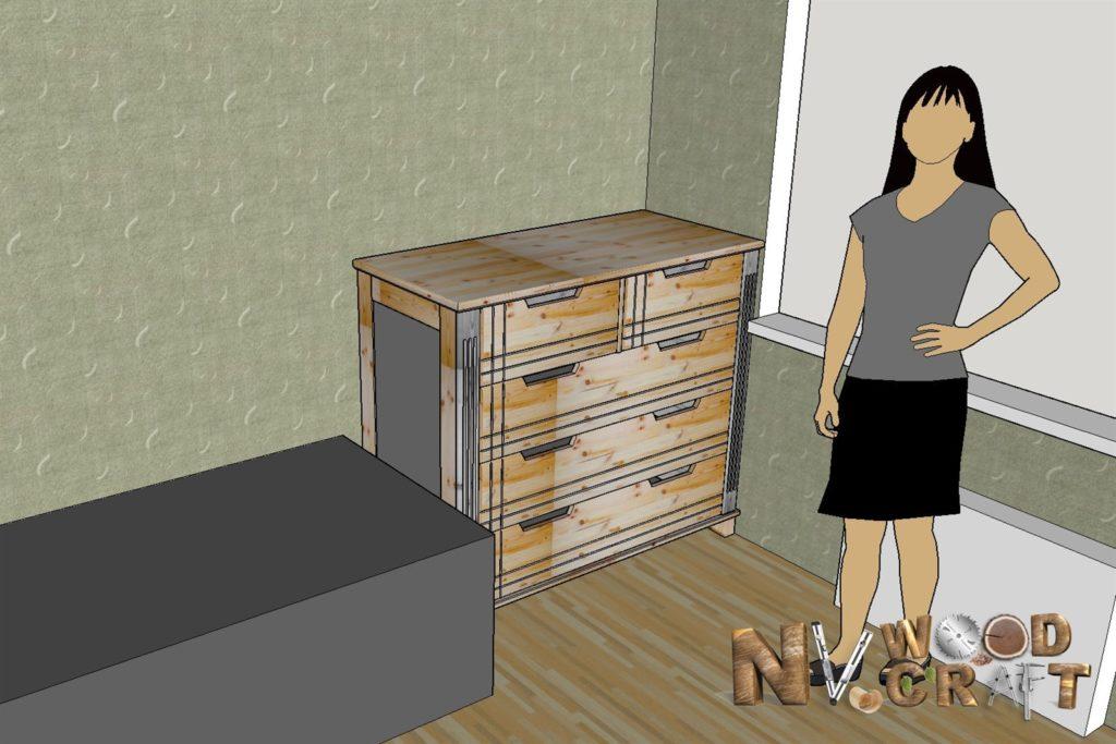 Комод в спальню из дерева чертеж