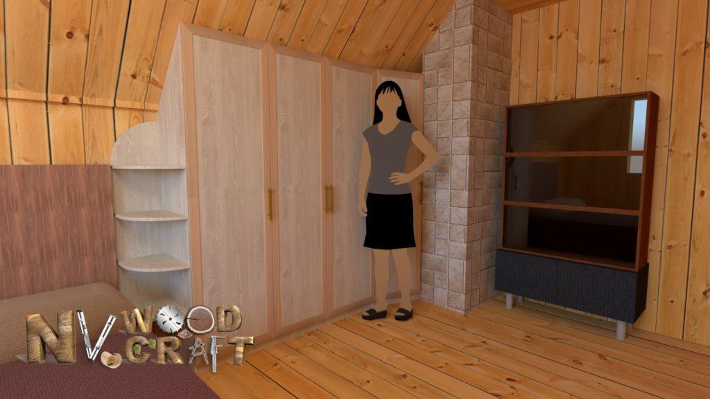 Встроенный шкаф на мансарде своими руками