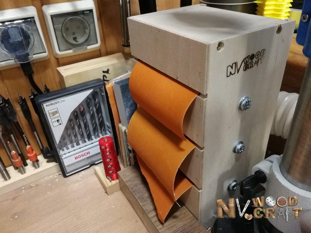 Хранение наждачной бумаги в мастерской